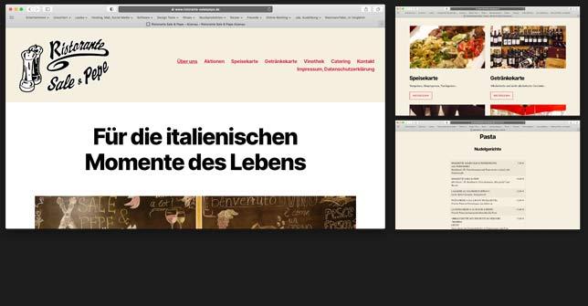 Webseite Gastronomie